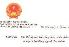Thư chúc mừng 70 năm ngày truyền thống ngành Tài chính